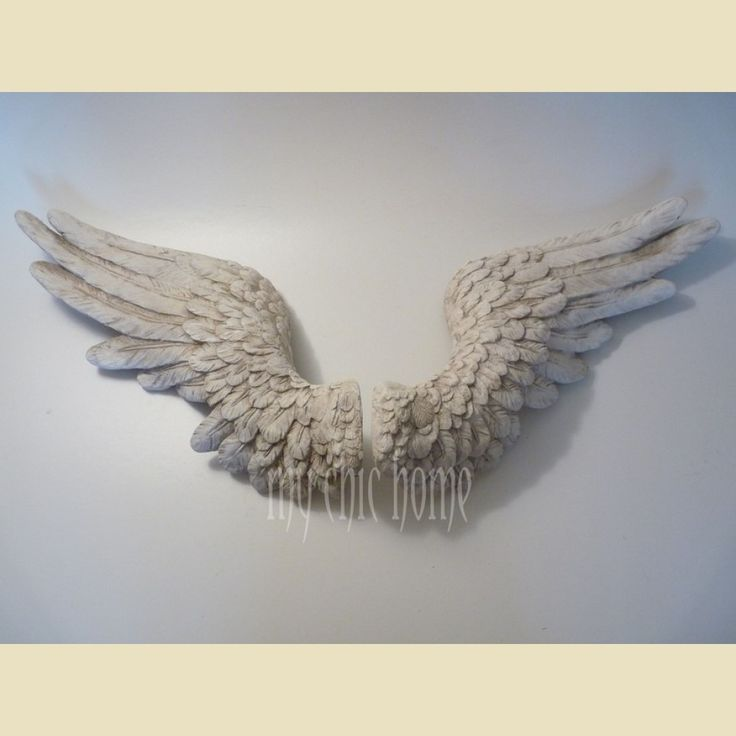 Cream angel wings wall hanging sculpture plaque for Angel wings wall decoration