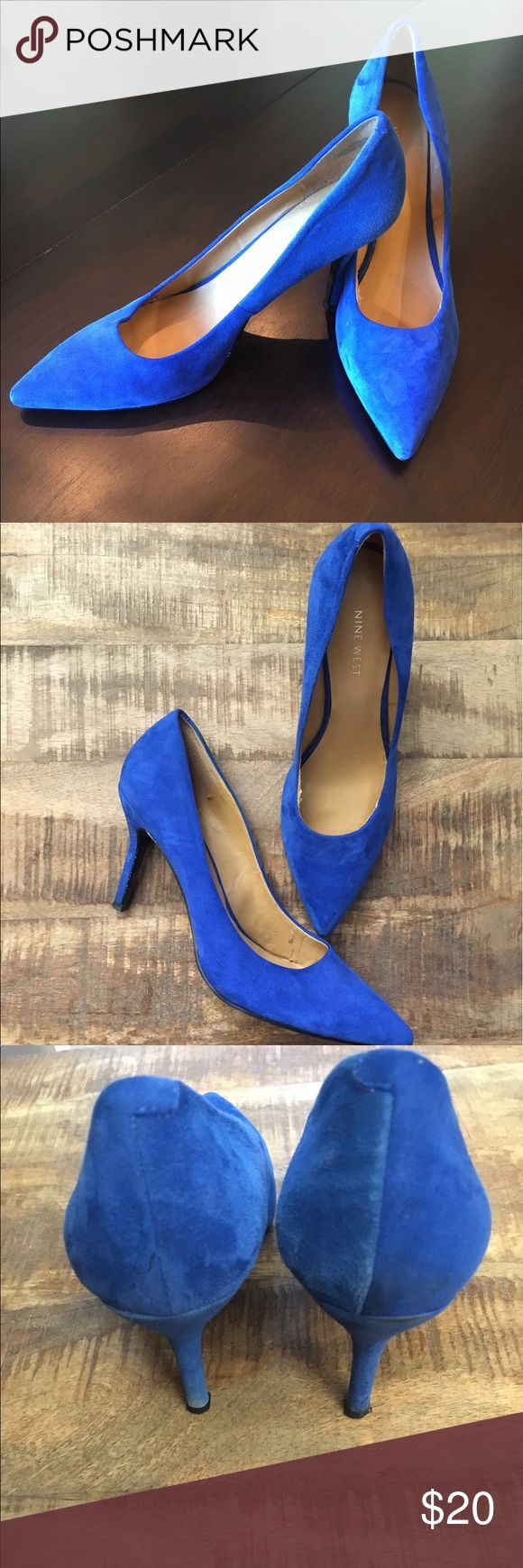 Nine West Flax High Heel in Dark Blue Gorgeous blue! Pointy toe high heel. Minor wear on one heel and interior (pictured). Worn less than 6 times. Suede like leather upper. Nine West Shoes Heels