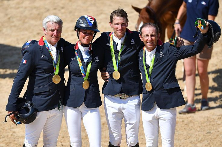 08.17.16 Gold! French Equestrian Jumping team: Roger Yves Bost, Penelope Leprevost, Kevin Staut and Philippe Rozier #FRA >   #Rio2016