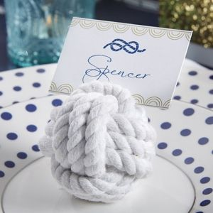 Nautical Cotton Rope Knot Place Card Holder (Set of 6) (Kate Aspen 29043NA) | Buy at Wedding Favors Unlimited (http://www.weddingfavorsunlimited.com/nautical_cotton_rope_knot_place_card_holder_set_of_6.html).