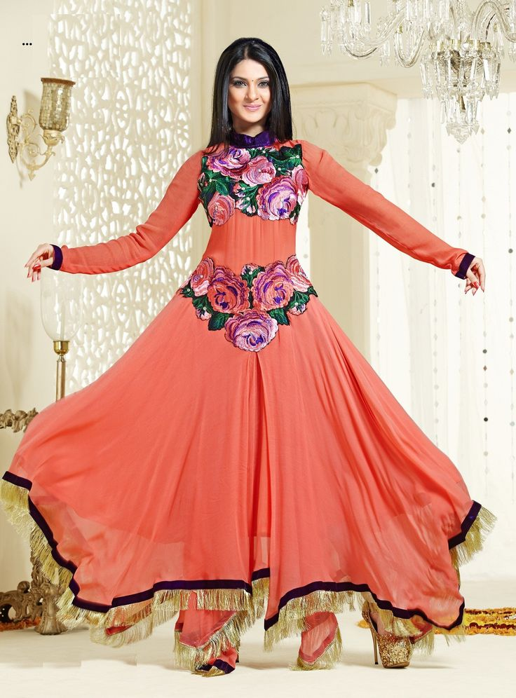 Orange Fab New Style Pankhuri Light Orange Pink Floor Length Anarkali Suit