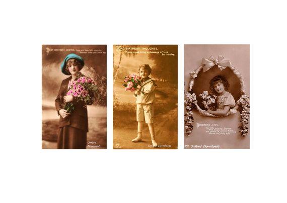 3 x Edwardian Vintage Postcard Happy Birthday by OxfordDownloads