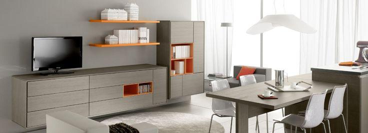 Diseño de salon con muebles abiertos en laca de colores vivos.
