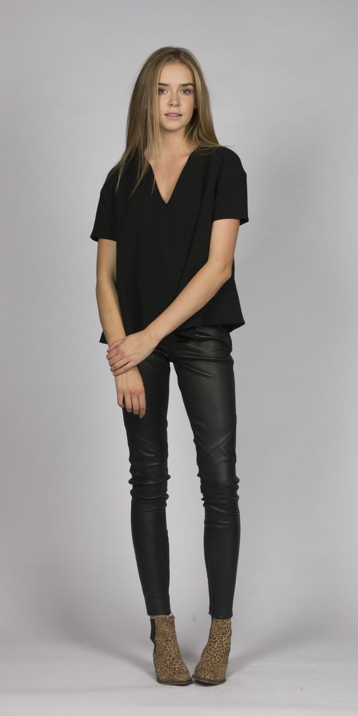 www.mcleanandpage.com  Shop Rebecca Vallance leather pants, Ba&sh top, leopard Ivy Lee boots.