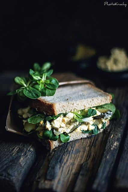 Egg Salad and Mache Sandwich