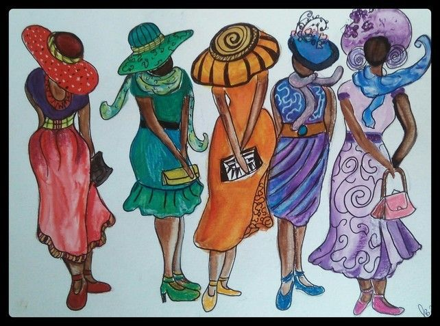 Abstract Beautiful African Ladies, Whimsical Colourful Painting, Quirky Fun Art £28.00
