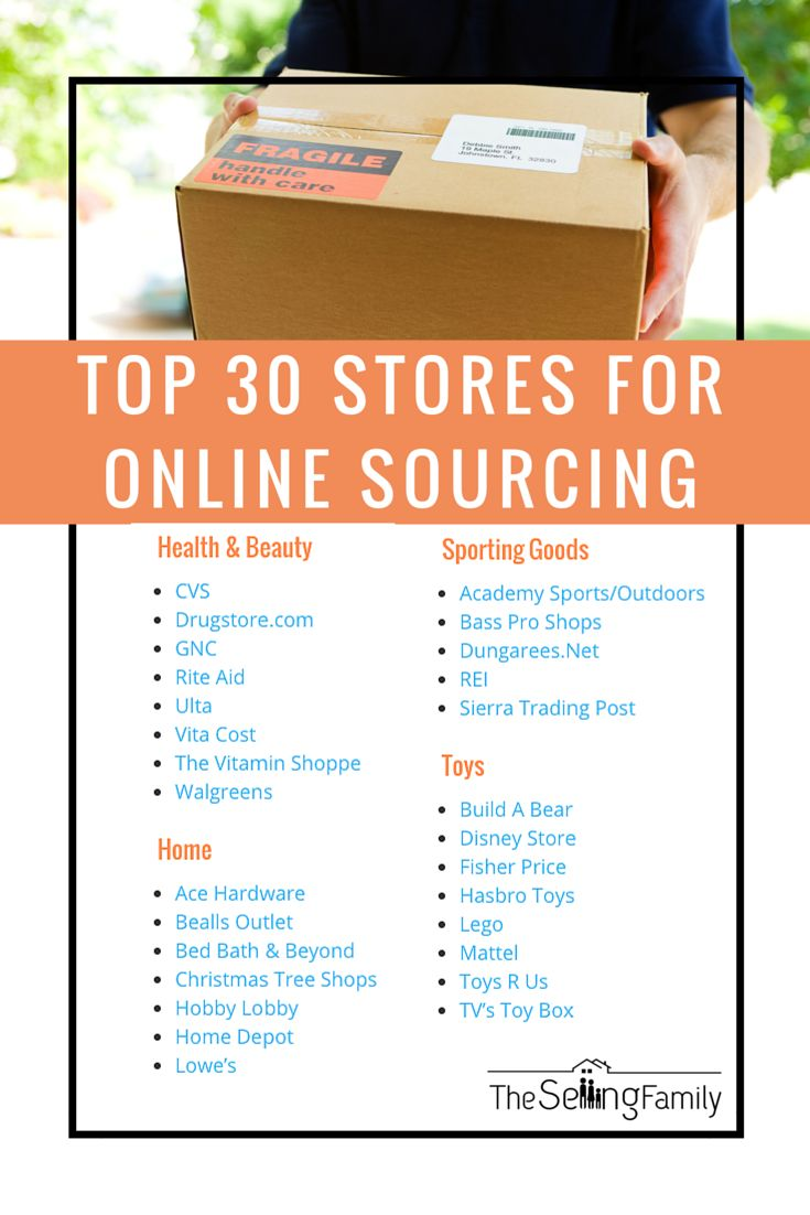 These are the top 30 stores we recommend for sourcing online.  They are great for buying inventory online to resell on Amazon FBA.