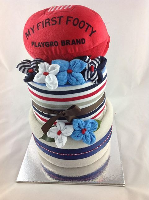Footy times nappy cake - Adelaide baby gift