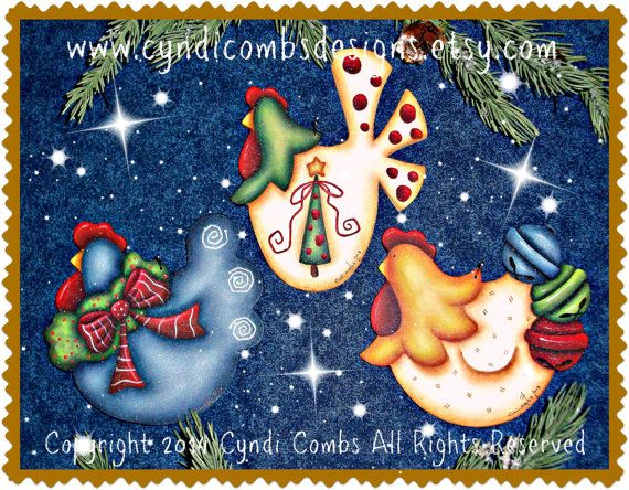 CC175 Festive Christmas Cluckers Painting E by CyndiCombsDesigns
