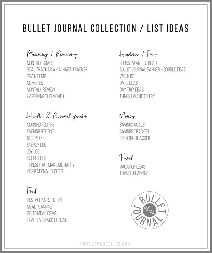 29 collection ideas for your bullet journal in this blog post. I think I'll have to add some of them to my bullet journal asap :) With FREE DOWNLOAD