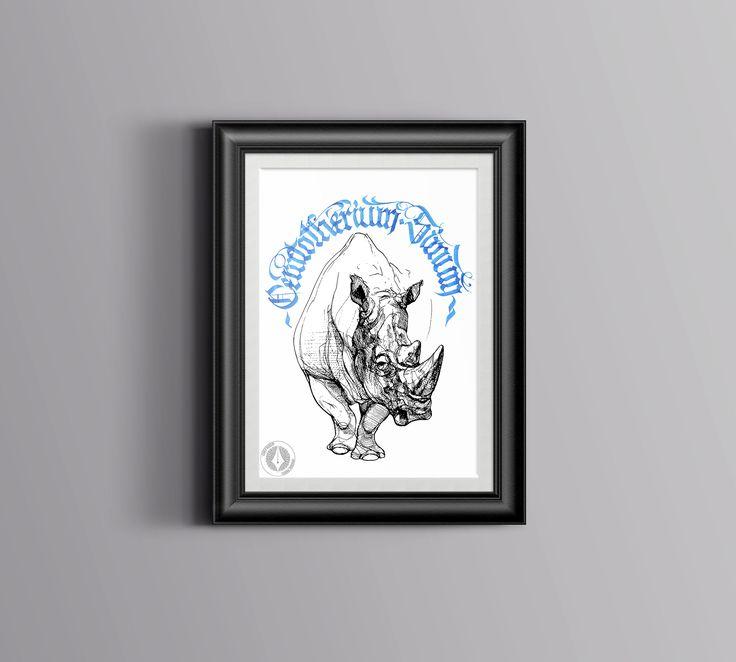 DESCARGA DIGITAL ilustración rinoceronte.Lámina decorativa color azul y negro. Regalo creativo.Lámina regalo.Diseño rinoceronte.Arte digital de CHEFYUSERPRINTS en Etsy https://www.etsy.com/es/listing/510519838/descarga-digital-ilustracion