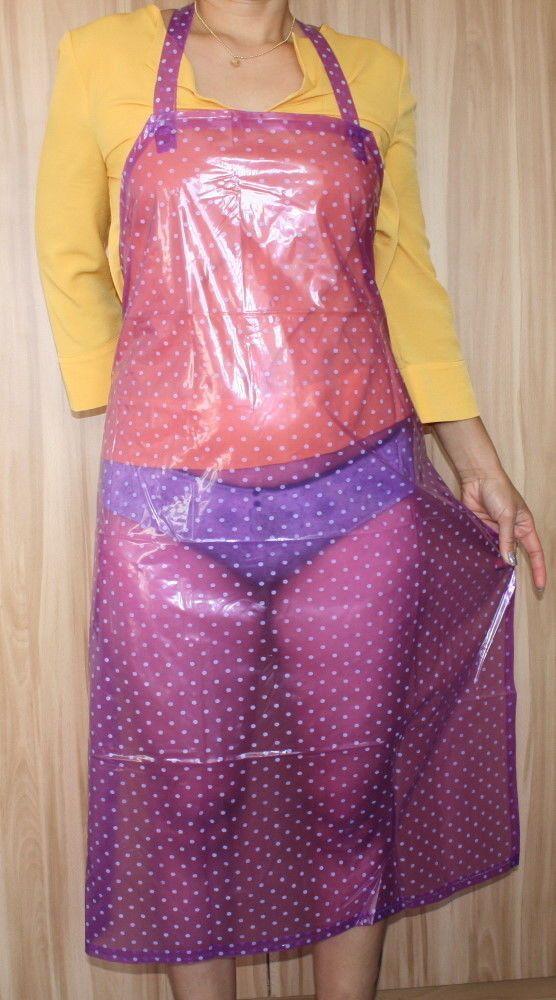 PVC Schürze violett transparent Punkte | eBay