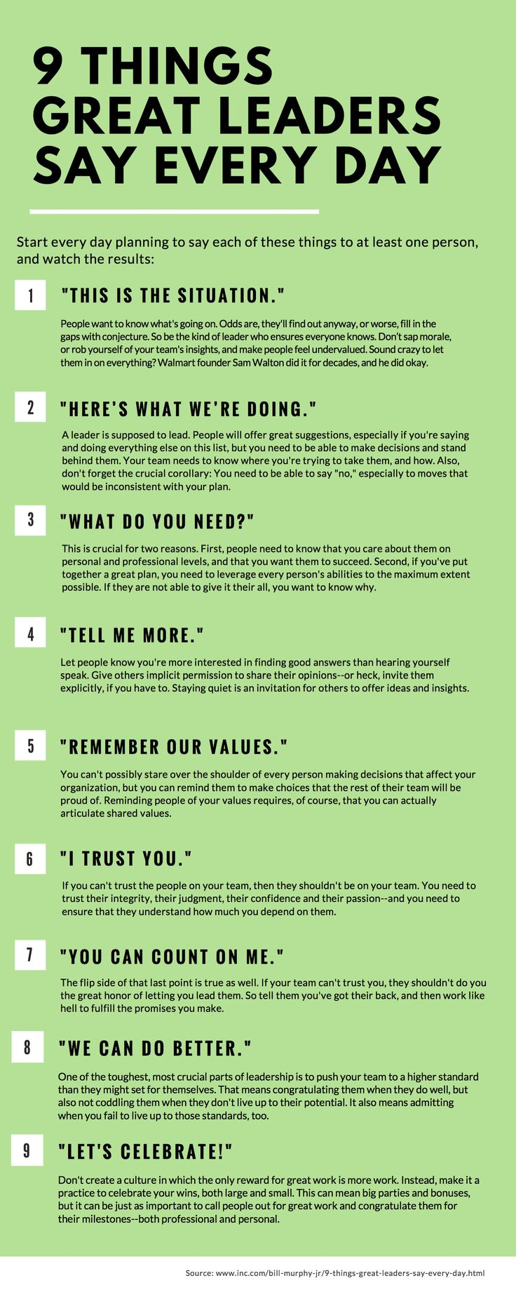 9 Things Great Leaders Say Every Day | People judge you by what you do--and by what you say. Here are nine phrases that should roll off your lips every single day.