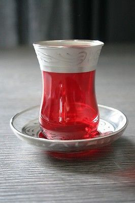 Ottoman Red & Silver Handcrafted Turkish Tea Set for Six