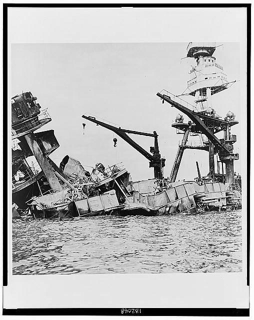 Pearl Harbor Sunday December 7, 1941 | Wreckage of USS Arizona BB-39, Pearl Harbor, Hawai'i, Sunday December 7, 1941