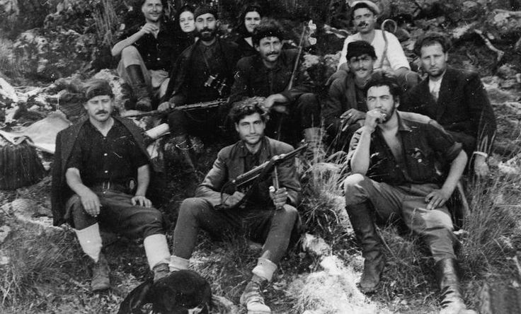 A group of Greek partisans and British Special Operations Executive agents posing on Crete (1944). Note the captured German MP40 submachine gun at the center. (He was doing undercover work with the resistance in the mountains for eighteen months before he was killed.)