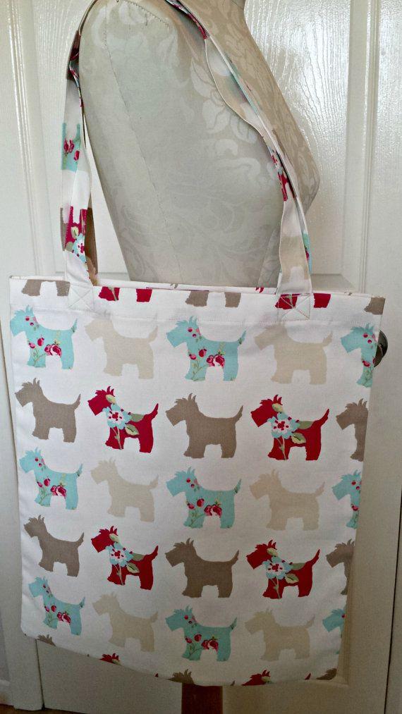 £6.99 Handmade Shopping Bag scottie dog scotland by KelwayCraftsYorkshir Clarke & Clarke scottie dogs