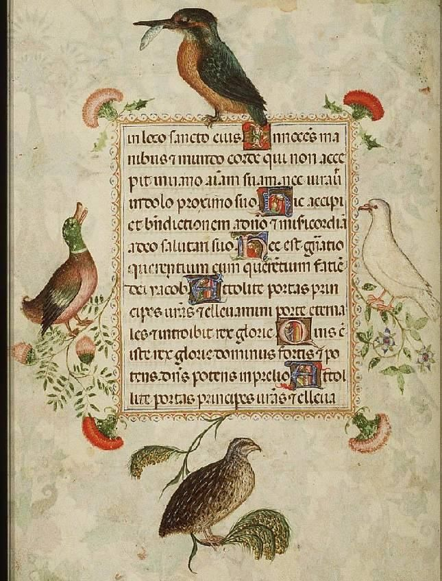 1390-1400 Lombardy Hours of Isabella of Castile. Added Decoration, Spain 1475-1500 http://manuscripts.kb.nl/show/manuscript/76+F+6