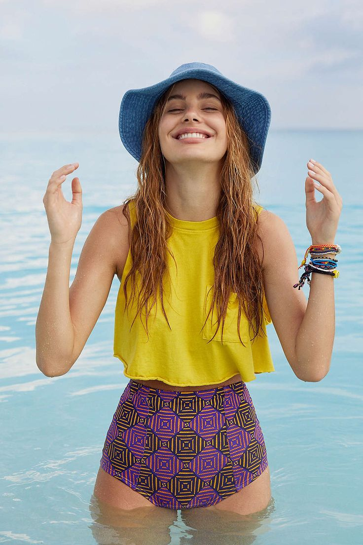 Out From Under Printed Flat High-Waisted Bikini Bottom: UO