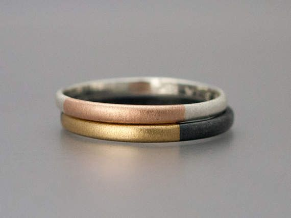 Dos tono oro y plata banda clásica de boda 2mm medio redondo