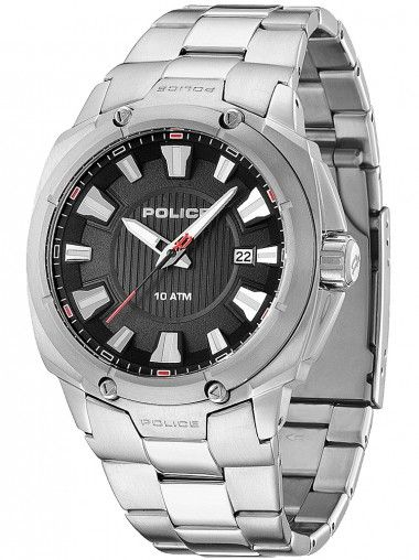 Police Mission Stainless Steel Round Black Dial Bracelet Watch 13892JS-02M