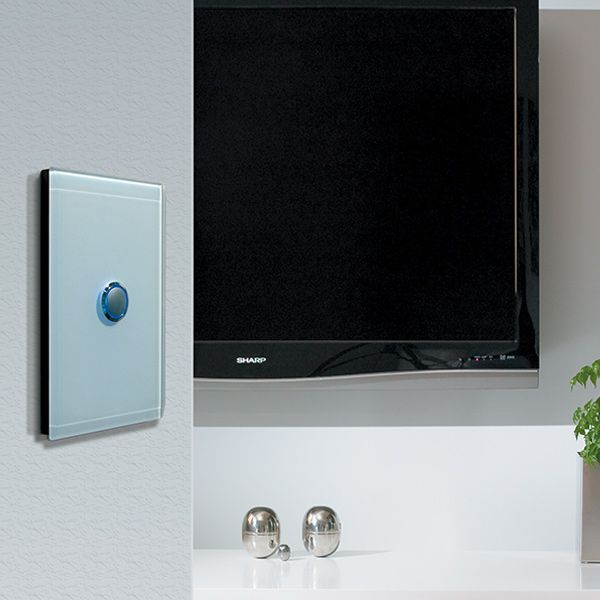 Glowing blue led light switch