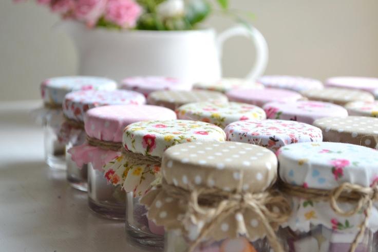 5 country favors diy mini jar kit with nude peach - Como decorar botes de cristal para chuches ...