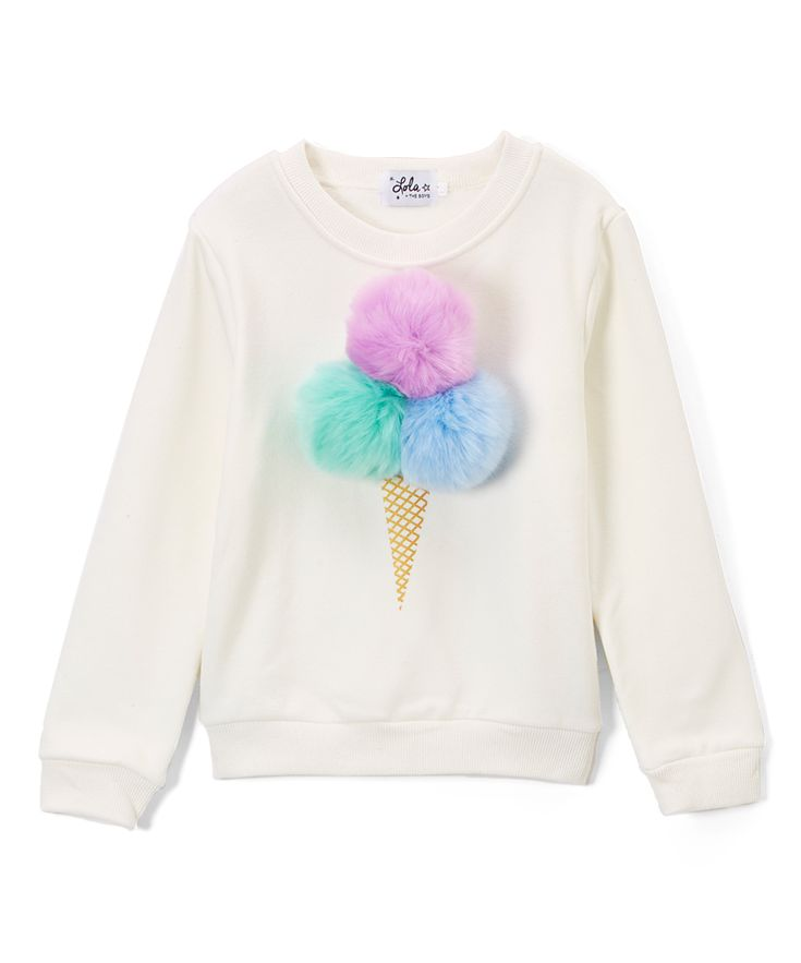 White Ice Cream Fur Pompom Sweatshirt - Toddler & Girls