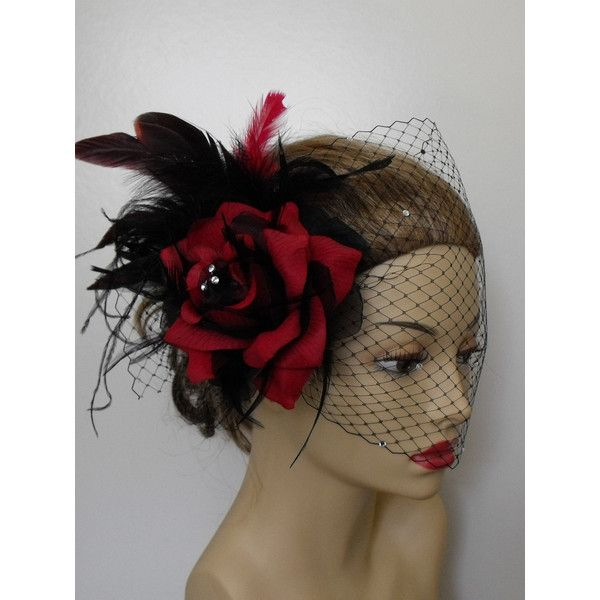 Black and Red Headpiece and Black Birdcage veil Weddingbee classifieds found on Polyvore