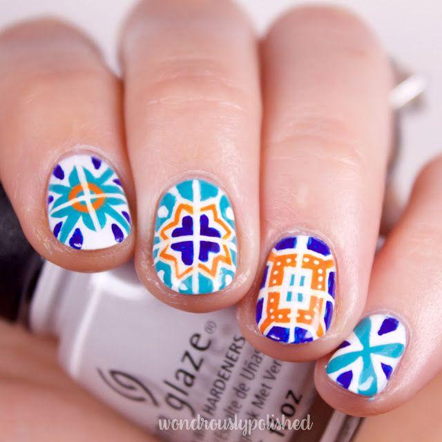 Wondrously Polished: Nail Art: Talavera Mexican Tiles