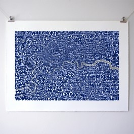 London Type Map. Intricate Typographic Map Art featuring the boroughs of London.