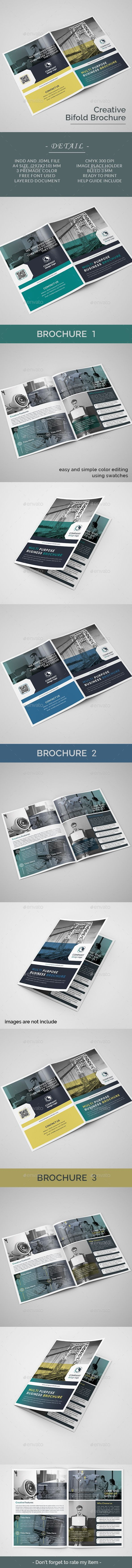 Bifold Brochure Bi-fold Brochure template, Can use for any personal or corporate, Very easily to edit, Very easy to adapt and customize, with help file included. Detail Bi-fold Brochure      4 pages     indesign files (.indd and .idml)     CMYK Color Mode     300 DPI Resolution     Size A4     3 mm Bleed in Each Side     print ready     Paragraph & Character styles