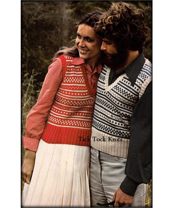 No.571 Matching Fair Isle Sweater Vests For Men & by TickTockKnits