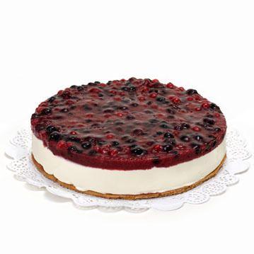 Laat deze prachtige Boston Cheesecake (met logo) bij je thuis bezorgen door deze hier te bestellen. Een traditioneel Amerikaanse taart voor cheesecake-liefhebbers, afgemaakt met de lekkerste bosvruchten. Deze toptaart wil je beslist niet missen! 12 personen, levertijd 1 dag.