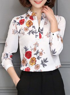 Brief Print V-neck Long Sleeve Blouse