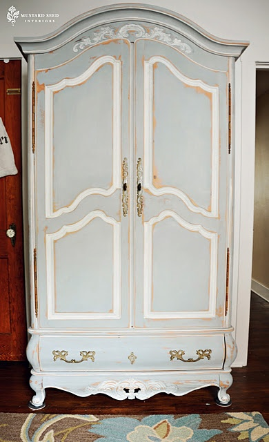 French armoire painted with mix of Paris Gray & Louis Blue accented with  Old White chalk