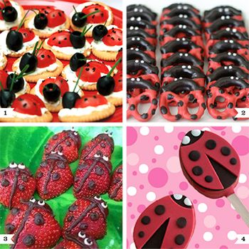 If you need cute party food ideas for a ladybug party, I've got you covered - from tiny tomato appetizers to Rice Krispie treats on a stick!