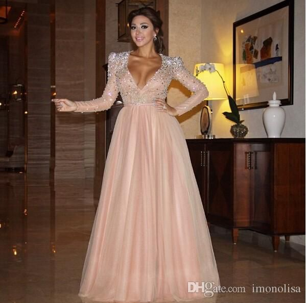 Simple Elegant Long Sleeve V Neck A Line Lace Top Satin: 1000+ Ideas About Robes De Soiree On Pinterest