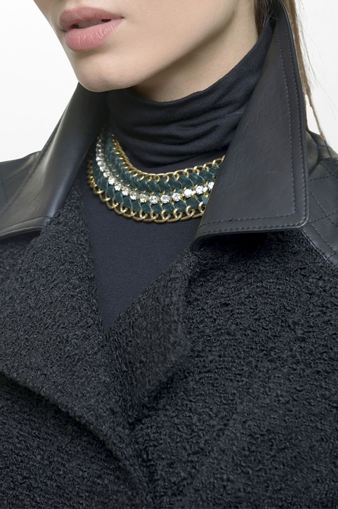 Sarah Lawrence - bouclé side zip jacket with fake leatheret details, long sleeve collar neck blouse, necklace.