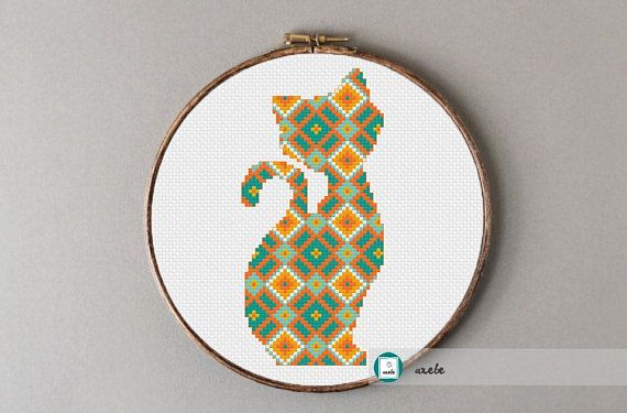 Modern cross stitch pattern geometric cat PDF  instant
