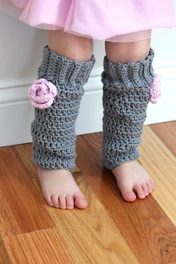 Baby girl leg warmers crochet cotton leggins grey by knits4cuties