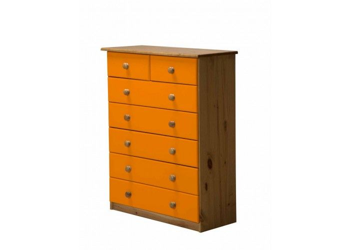 http://www.bonsoni.com/verona-5-2-drawer-chest-antique-with-orange-details   Colour antique pine finish with orange mdf drawer fronts. Other size matching chest of drawers and furniture (Wardrobes, bedside cabinets, dressing table, stools, storage units, lighting and mirrors) is available.   http://www.bonsoni.com/verona-5-2-drawer-chest-antique-with-orange-details