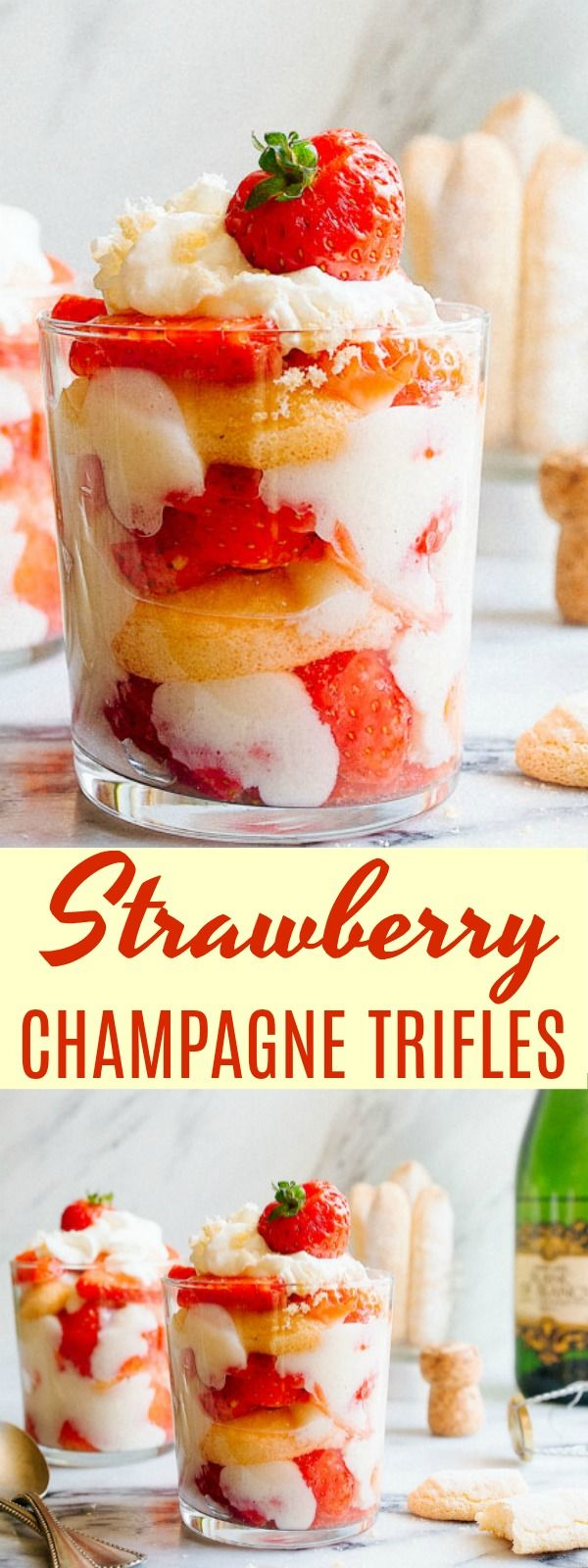 Strawberry Champagne Trifles for two for New Year's Eve dessert or Valentine's Day dessert for two. Champagne desserts. Leftover champagne dessert. via @dessertfortwo