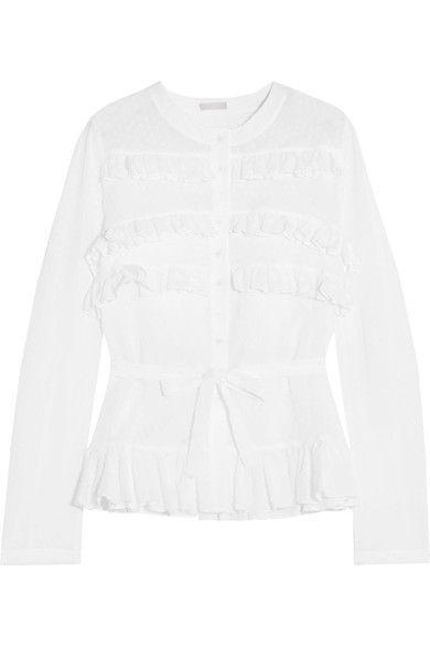 Alaïa - Ruffled Swiss-dot Cotton Blouse - White - FR40