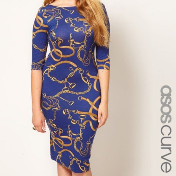 ASOS Curve blue body on chain print dress ASOS Curve blue body on chain print dress- easy pullover styling. Gorgeous print! This is a dress is excellent used condition. No tags! ASOS Curve Dresses