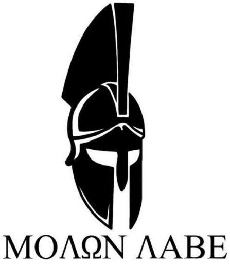 "Molon Labe Sticker Spartan Helmet Die Cut Vinyl Decal 2nd Amendment 5.1"" x 5.9"" #RileyExpress"