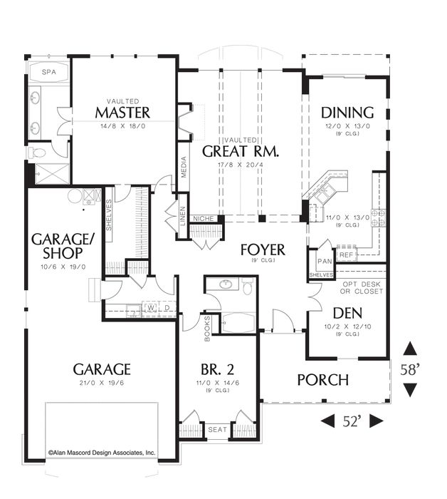 House plan 1150 the lindley add a bonus for Two car garage plans with bonus room