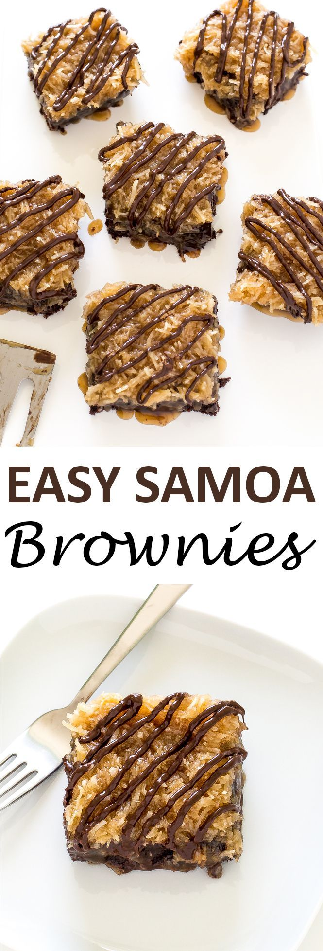 Rich and chocolatey Samoa Brownies topped with a sweet coconut topping. They…