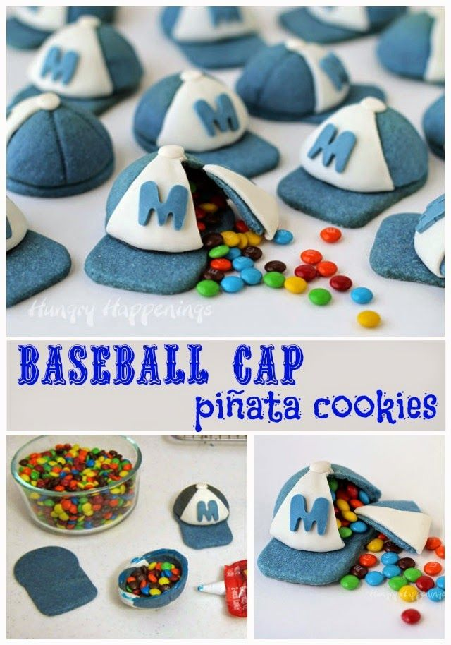 What's more fun than a cookie? A cookie with candy inside. These 3-D Candy Filled Baseball Cap Pinata Cookies can be personalized for your little sluggers team. Tutorial at HungryHappenings.com