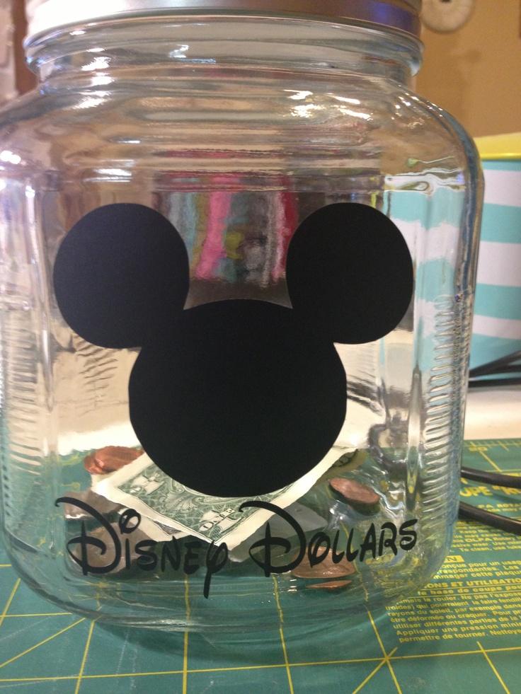 Glass jar from hobby lobby + black vinyl = Disney change jar